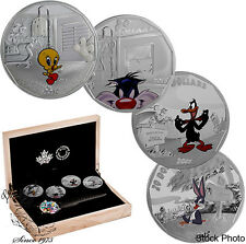Canada 2015 $20 Fine Silver 4-Coin Set Looney Tunes™ with Wrist Watch Orig $419