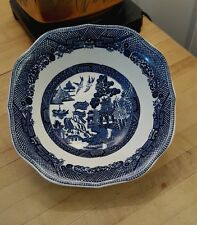 """JOHNSON BROS Square BLUE WILLOW Ware Cereal Bowl 6 1/4"""" Plate Dish English China"""