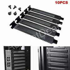 10x PCI Slot Cover Dust Filter Blanking Plate Hard Steel Black w/screws