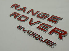 RANGE ROVER EVOQUE RED RAISED EDGE SILVER NEW STYLE REAR BACK BOOT BADGE SET