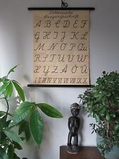 VINTAGE PULL ROLL DOWN SCHOOL WALL CHART OF THE ALPHABET CALLIGRAPHY GERMAN
