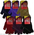 WOMENS LADIES PLAIN HOT THERMAL FINGERLESS KNITTED WINTER WARM HALF GLOVES