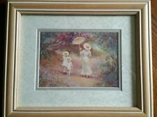 Victorian Lady with children Grove Scene Watercolor Framed Matted Print R. Tolan
