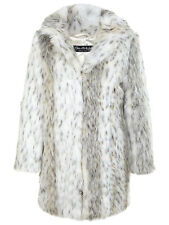 MISS SELFRIDGE SIZE 10-12 FAUX FUR SNOW LEOPARD PRINT WOMENS JACKET LADIES COAT