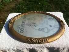 Victorian Gold Wood Oval Picture Frame w/Convex Glass Dolls around the world