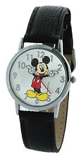 Disney Mickey Mouse Molded-Hands Black Watch, Genuine Leather
