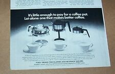 1975 vintage print ad -Pyrex Ware coffee pots Corning Glass Works NY advertising
