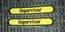 "LOT OF 2 SUPERVISOR Iron or Sew-On Patch EMBROIDERY 3.5""x 5/8"""