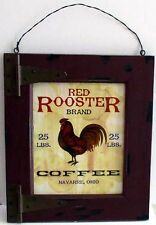 RED ROOSTER COFFEE SIGN Chicken Hen Wood Country Store