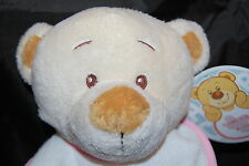 """Baby Teddy Bear Girl Share Bib With  Tan Rattle White Pink Owl NWT Plush 8"""" Toy"""