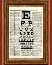 Eye Chart Dictionary Art Print Poster Vision Science Ophthalmologist Picture