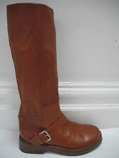 ANN DEMEULEMEESTER brown soft leather knee high boots size 38.5
