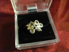 Sterling silver 925 citrine cluster ring size 8 teardrop & round cuts