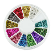 Nail Art Tips Decoration DIY Mini Micro Caviar Ball Beads 1mm Wheel 12 Colours
