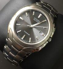 Mens Genuine Citizen Watch Titanium Eco-Drive Bm6560-54h Black Dial