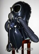 HEAVY RUBBER Fetish GAS MASK Latex HOOD+3L Rebreather Bag+GAG w/ PUMP+Twin HOSES