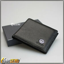 new VOLKSWAGEN Genuine 100% Cow Leather Bifold Wallet Men Slim Purse Car VW Gift