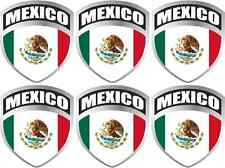 """6 - 1.7"""" x 2"""" Mexico flag shield decal Mexican badge vinyl hard hat sticker"""