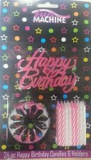 PINK HAPPY BIRTHDAY CANDLE SET SIGN  24 CANDLES AND 12 HOLDERS FOR BIRTHDAY