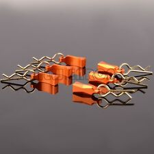6xRC 1/10Body Clips with Aluminum Mount Orange For GPM Axial Yeti ROCK RACER