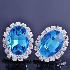 Womens Fashion Jewelry Silver Plating Oval Sapphire Blue Stud Clip On Earrings