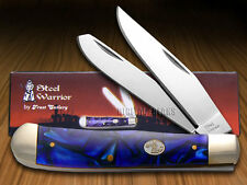 STEEL WARRIOR Quartz Blue Celluloid Trapper Stainless Pocket Knives Knife