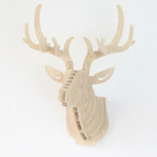 Creative Craft Animal Deer Head Wall Hangers 3D Wood Kokeshi Home Decor Wall Art