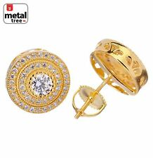 Mens Hip Hop 925 Silver 3 Layers Stone W/ 0.25Ct Round  Screw Back Stud Earrings