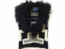 New Ralph Lauren Indian Black Gray Wool & Silk Shearling Collar Sweater Vest S