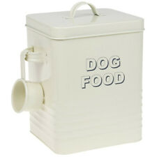 Stile vintage crema SMALTO DOG Food Storage TIN BOX-BUSTE considera CIBO SECCO