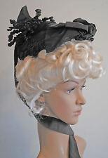 ANTIQUE DRESS HAT 1880's FANCY BLACK GROSGRAIN PARIS LABEL MUSEUM DE-ACCESSIONED
