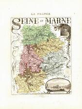 Carte du Département de la SEINE et MARNE, vers 1874. Migeon