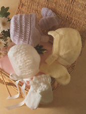 Baby Knitting Patterns DK Hat and Mittens Collection Birth to 24 months # 1