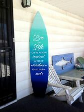 6 foot wood surfboard wall art in an ocean ombre effect with quote