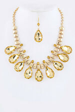 Gold and Topaz Teardrop Statement Necklace Set