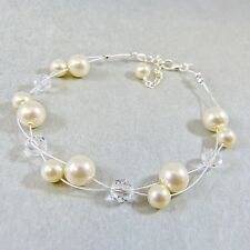 Floating Bridal Bracelet Swarovski Elements Crystal Beads and Ivory Pearls w Box
