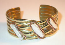 Freshwater KEISHI PEARL Gold Brass & Copper BRACELET 3 Pearls Cuff