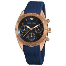 Authentic Emporio Armani AR-5939, Blue Sports Luxe Chronograph Watch for Women