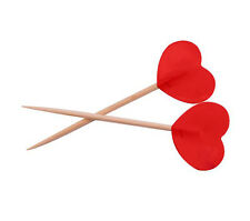 50 RED HEART TOPPED PARTY PICKS COCKTAIL STICKS