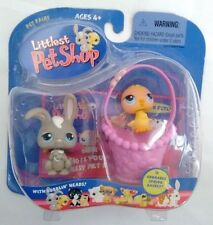 New Littlest Pet Shop Bunny Rabbit and Baby Chick in Spring Basket NIB Pet Pairs