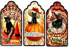 HALLOWEEN BLACK CAT PUMPKINS (22) SCRAPBOOK CARD EMBELLISHMENTS  HANG/GIFT TAGS