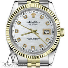 Men`s Rolex 36mm Datejust2Tone White MOP Mother of Pearl Dial with Diamond