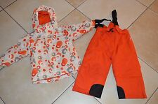 BORNINO =  Blouson + Pantalon de ski neige rouge orange blanc 2 - 3 ans F