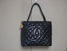 100% Authentic CHANEL Medallion Quilted CC Hand Bag Black Caviar Skin Leather