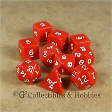 NEW 10 Opaque RED Polyhedral D&D RPG Game Dice Set in Tube D20 D12 D10 D8 +
