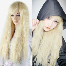 Blonde Long Womens Harajuku Corn Wavy Curly Hair Cosplay Costume Anime Full Wig