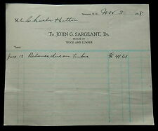 1928 Billhead JOHN G SARGEANT Dealer in WOOD and LUMBER