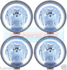 "4x SIM 12V/24V 9"" ROUND BLUE LENS SPOTLIGHTS SPOTLAMPS +LED ANGEL EYE SIDELIGHTS"