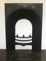 Original Restored Antique Cast Iron Victorian Fireplace Arched Insert (EM115)