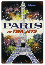Nostalgic Paris Fly TWA Jets Advertisement Sign